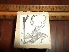 "VINTAGE ""CARTOON TRAIN SCENE"" RUBBER STAMP PRINTING CUT LETTERPRESS VINTAGE"