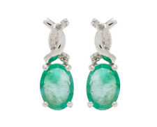 10k White Gold Genuine 2.10ct Oval Emerald and Diamond Earrings