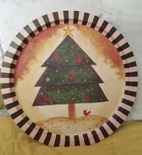 Vintage Linda Spivey Tin Christmas Tray