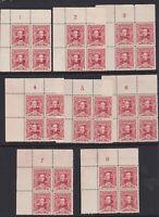 APD497) Australia 1930 Sturt 1½d red complete set of plate blocks