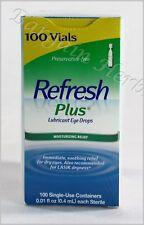 Refresh Plus Lubricant Eye Drops 100 Single Vials New Free Shipping