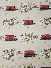 GSXR SUZUKI HAPPY BIRTHDAY GIFT WRAPPING PAPER SUPERBIKE MOTORBIKE