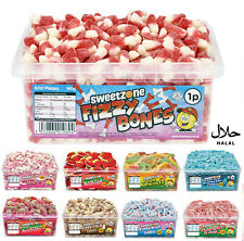 SWEETS SWEETZONE FIZZY BONES JELLY FIZZY CANDY CHEWY TUBS 600PC KIDS PARTY HALAL