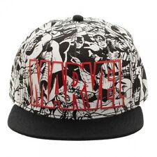 BLACK & WHITE MARVEL COMICS TEXT LOGO ALL OVER PRINT SNAPBACK HAT CAP ADJUSTABLE