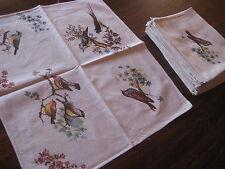 Linge de table  10 serviettes de table en coton avec des oiseaux   47 x 43 cm