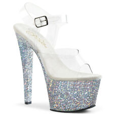 "7"" Blue Glitter High Heels Stripper Burlesque Pole Dancer Shoes size 8 9 10 11"