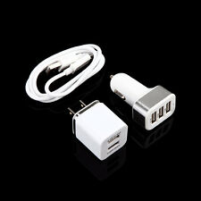 3 sets Car Charger Adapter+Dual Ports Wall Home Quick Charger +Micro USB Cable