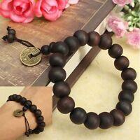 New Men's Wood Buddha Buddhist Prayer Beads Tibet Mala Wrist Bracelet Gift!