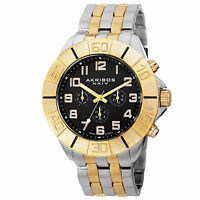 Men's Akribos XXIV AK767TTG Swiss Quartz Multifunction Two-tone Bracelet Watch
