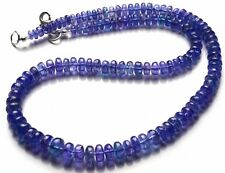 Natural Gem Top Quality Tanzanite Smooth 5 to 9MM Rondelle Beads Necklace 16""