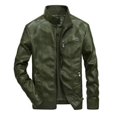 Mens Casual Faux Leather  Biker Jacket  Outdoor Vintage Motorcycle Coat US 3xl