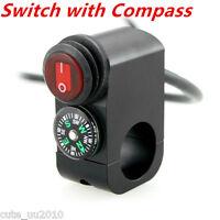 Motorcycle Waterproof LED Handlebar Headlight Fog Spot light Switch Compass New