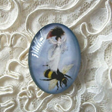 Fairy On A Bee 30X40mm Glitter Unset Handmade Glass Art Bubble Cameo Cabochon