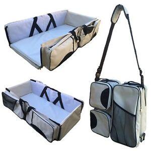 BOXUM BABY 3 IN 1 DIAPER BAG CHANGER STATION BASSINET BAG BEIGE TAN EUC! $119