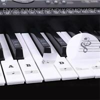 88/61/54 Keys Transparent Piano Keyboard Stickers Tabs Musical Notes Stickers