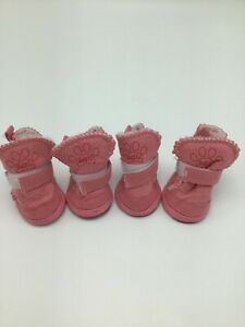 Dog Boots All Season Rubber Soles Shoes Booties ACL PINK NEW Size 2 Fur Lined
