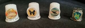 THIMBLE COLLECTION - QUEENSLAND THEMED - 4 IN TOTAL - 3 CERAMIC, 1 METAL