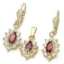 9ct Gold Filled Clusters  Earrings Pendant Chain Set  Red Garnet ClearCZ B93