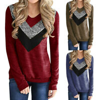 Women Fashion Splicing Sequined Long Sleeve Shirt Loose Fitting Tunic Blouse Top