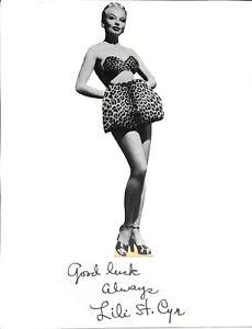 Lili St. Cyr Autograph Queen of Burlesque Leggy Sexy Striptease HOT!