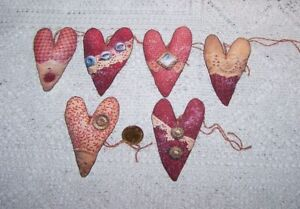 6~Valentines Day~Primitive~Heart~Fussy Cut~Linen Cardstock~Gift~Hang~Tags