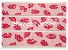 7/8 Valentine Smoochy Smooch Kiss Red Lips Grosgrain Ribbon 4 Hairbow Bow Pink