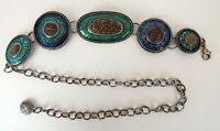 Chico's Large Turquoise Enameled Medallion Boho Chain Belt One Size Southwestern
