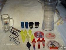 LOT OF BOTTLE POURERS,PITCHER,STIEN,OPENERS,COASTERS +>