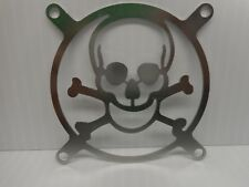 "Skull & Bones Steel Computer PC Fan Cover Plate Grille 2 & 7/8"" Screw Spacing"