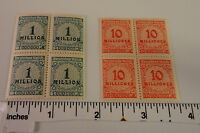 GERMANY Hyper Inflation Stamps (Blk of 4 each) 1 & 10  Million Mark Stamps MNH