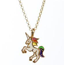 Gold Plated Unicorn White Enameled Pendant Necklace