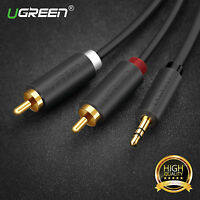 Ugreen 3.5mm Male to 2RCA Male Aux Cable Gold Plated L R Plug Audio Cable Cord