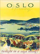 Oslo Norway Norwegen Twilight Scandinavia Vintage Travel Advertisement Poster