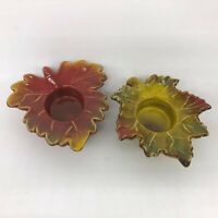 Set o 2, TII Collections, Ceramic Leaf Tea Light, Votive Candle Holders, Autumn