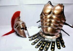 GREEK CORINTHAN HELMET MEDIEVAL ROMAN ARMOR SPARTAN COSTUME W/MUSCLE JACKET Gift