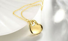 Womens 18k Gold Plated Link Chain Love Heart Charm Pendant Fashion Necklace NE86
