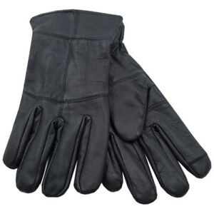 Mens Thinsulate Black Leather Touch Screen Gloves Thermal Winter Gloves