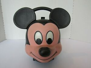 Vintage Walt Disney Mickey Mouse  Aladdin Plastic Lunch Box With Thermos
