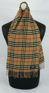 BURBERRY SCARF 100% LAMBSWOOL SHORT MADE IN ENGLAND BEIGE AS2