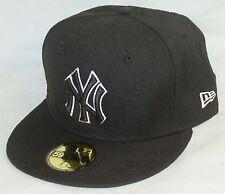 NEW Era 59fifty NEW YORK YANKEES Baseball Hat BLACK fitted cap SIZE 7 NYC  MLB feb349275ff3