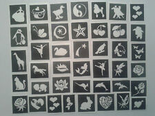 75 x girls themed stencils (mixed) for glitter tattoos / airbrush / face paint