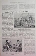 1902 PRINT ~ NAVAL CARICATURES OLD-TIME PRESS-GANG SAILORSPRAYER BEFORE BATTLE