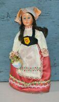 "Vintage Hard Plastic Doll Sleepy Eyes 8.5"" Dutch Swiss German Dress Brunette Gal"