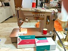 Vintage Singer Sewing Machine 328K Zigzag Serviced Style-O-Matic Many Extras!