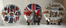 3 X London Showpiece  Plate With Display Stand British Souvenir Gift, Size: 10CM