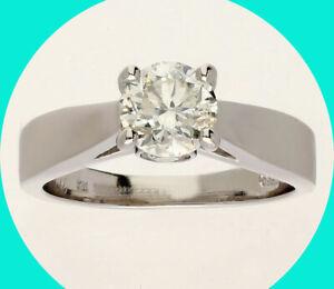 Platinum 1.53CTW diamond engagement ring 1.23C round brilliant sz 6.75