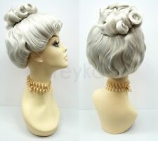 Gray Bun Updo Victorian Colonial Style Costume Wig Grandma Old Lady Upstyle