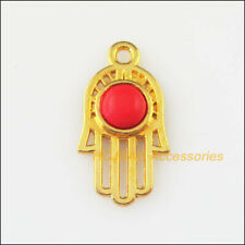 15 New Red Turquoise Charms Gold Plated Round Hand Palm Pendants 11x21mm