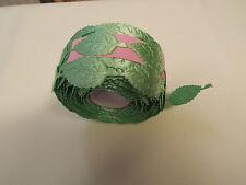 2m -Light Green,Leaf Motif,Applique,Trimmings,Wedding, Satin Lace Ribbon- W-2cm