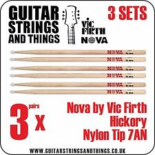 3 PAIA DI NOVA by VIC FIRTH vfn7an Hickory, punta in nylon, 7AN fusi (coscette)